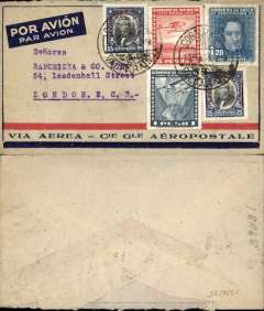 "(Chile) Air France, Valparaiso to London, no arrival ds, red/blue/light grey Compagnie Generale Aeropostale imprint airmail etiquette cover, franked 6P airs and 1.70P ordinary. Likely air by CGA to Natal, then ""Aviso"" to Dakar, then air AF to Marseille."