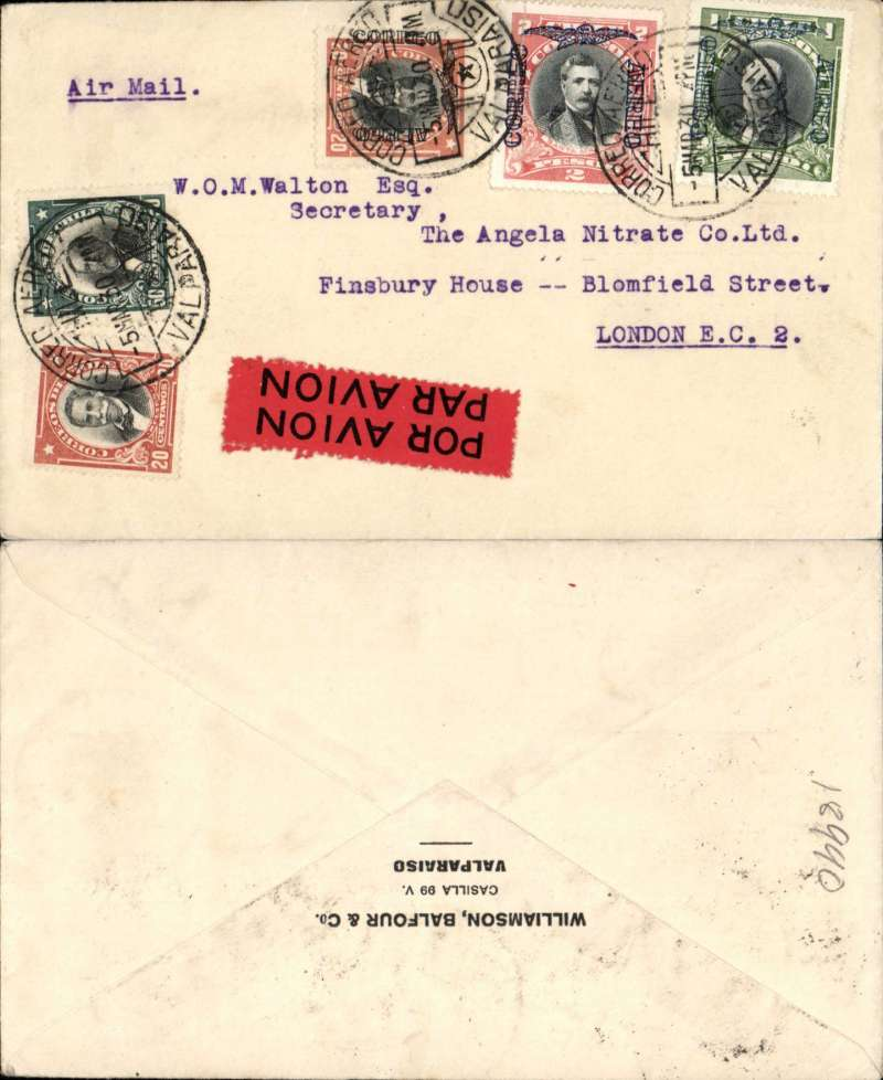 """(Chile) Air France, Valparaiso to London, no arrival ds, Williamson Balfour printed commercial cover franked 3P20c airs and 70c ordinary, typed 'Air Mail'. Likely air by CGA to Natal, then """"Aviso"""" to Dakar, then air AF to Marseille."""