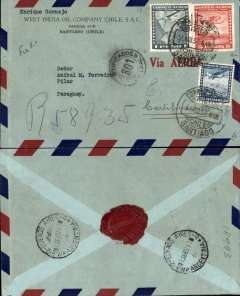 (Chile) Panagra/Pan Am, Santiago to Paraguay, via Buenos Aires 1/9 transit cds, commercial airmail corner cover from the West India Oil Company Chile franked 6P air and 20 ordinary, black '301' in circleBuenos Aires transit post office mark; wax company seal verso.