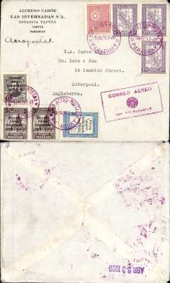 (Paraguay) First acceptance of mail for England, Asuncion to Liverpool, for carriage on the first regular Compagnie Aeroposta  Argentina service from Asuncion-Buenos Aires, commercial corner cover franked $5 postage and $44.20 airmail, canc fine strike red Paraguay/Aereo Postal/9 Abr 29 cds, red framed 'Correo Aereo/Rep Paraguay' cachet used before airmail envelopes were introduced in 1930, verso office hs Abr 23 1929, probably applied in Buenos Aires.