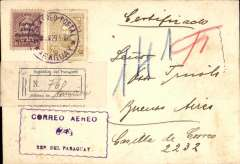 "(Paraguay) Compagnie Aeroposta  Argentina, Asuncion to Buenos Aires, bs 4/2, early commercial corner cover franked $5.35 inc $2.85 airmail opt with 'full stop' instead of 'colon' variety, carried on the C.A.A. Asuncion-Buenos Aires service, fine strike blue boxed ""Correo Aereo/ Rep del Paraguay"" cachet used before airmail envelopes were introduced in 1930."