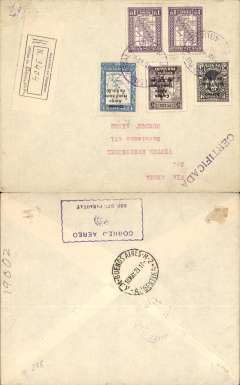 "(Paraguay) Asuncion to Buenos Aires, bs 10/5, flown on the Compagnie Aeroposta Argentina Asuncion-Buenos Aires service, registered (label) cover franked $30.20 inc 1929 C4,5,6 surcharge airs set, canc violet red 'Sco Aereo Postal/10 May 29/Paraguay' cds, fine strike violet boxed ""Correo Aereo/ Rep del Paraguay"" cachet used before airmail envelopes were introduced in 1930. The 1929 opt. set was issued for the first trans Atlantic service to Europe, and was withdrawn on 29 April 1929, so this could be one of the last days of usage."