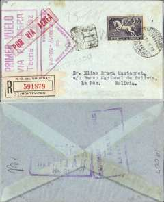 """(Uruguay) Panagra (FAM 9), 1st regular service Bolivia to Uruguay, Montevideo to La Paz, bs 8/6, registered (label) cover franked 1935 35c, canc Montevideo 31/5 cds, red triangular """"Primer Correo Aereo/Uruguay-Bolivia/via Panagra"""" cachet and red framed """"Primer Vuelo/via Panagra/Tacna-La Paz"""" cachets, also violet framed Chaco War censor hs verso. The Chaco War, fought between Bolivia and Paraguay 1932-1935, was won by Paraguay, but the final peace treaty was not signed until July 1938."""