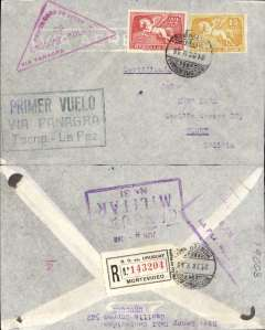 """(Uruguay) Panagra (FAM 9), 1st regular service Bolivia to Uruguay, Montevideo to La Paz, bs 8/6, registered (label) cover franked 1935 35c, canc Montevideo 28/5 cds, red triangular """"Primer Correo Aereo/Uruguay-Bolivia/via Panagra"""" cachet and black framed """"Primer Vuelo/via Panagra/Tacna-La Paz"""" cachets, also violet framed Chaco War censor hs verso. The Chaco War, fought between Bolivia and Paraguay 1932-1935, was won by Paraguay, but the final peace treaty was not signed until July 1938."""