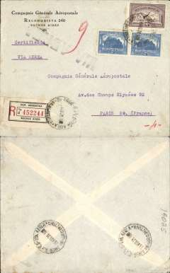 (Argentina) Compagnie Generale Aeropostale, Buenos Aires to Paris, no arrival ds, registered (label) CGA Buenos Aires company corner cover franked  $1.14 inc 1928 90c airmail, canc 'Via Aerea/2 May 28', large black 'Via Aereo' hs. Carried on the South America/-Europe service. Note use of Argentina's first airmail stamps to pay the 18c rate (x5) to Europe via West Africa. CGA to Natal then by fast 'Aviso' from Natal-Dakar, then flown Dakar-Toulouse by Aיropostale.