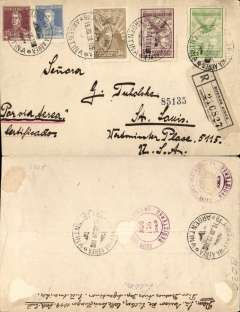 (Argentina) Compagnie Generale Aeropostale, Buenos Aires to St Louis, bs 15/8, plain registered (label) cover franked $1.86 inc $1.62 airmail, canc Via Aerea/Buenos Aires cds, ms 'Par Via Aerea/Certificados'. Letter weighed 9g (9x18 =162).