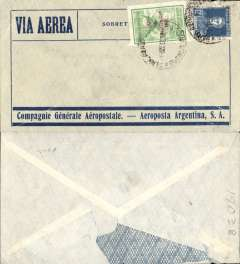 (Argentina) Compagnie Generale Aeropostale, Buenos Aires to Paris (address is faint, but legible), no arrival ds, blue/grey CGA company cover franked 82c inc 90c (12c postage, 72c airmail), canc Buenos Aires cds, carried on the South America/-Europe service. 72c Anniversary of the Revolution air used to pay the 18c rate (x4) to Europe via West Africa. CGA to Natal then by fast 'Aviso' from Natal-Dakar, then flown Dakar-Toulouse by Aיropostale. Some flap damage.