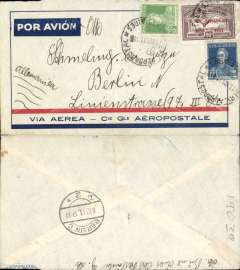 (Argentina) Compagnie Generale Aeropostale, Buenos Aires to Berlin, bs 8/12, red/blue/grey CGA company cover franked 12c postage, 3c surcharge and 90c airmail), canc Buenos Aires cds, carried on the South America/-Europe service. 90c Anniversary of the Revolution air used to pay the 18c rate (x5) to Europe via West Africa. CGA to Natal then by fast 'Aviso' from Natal-Dakar, then flown Dakar-Toulouse by Aיropostale. CGA to Natal then by fast 'Aviso' from Natal-Dakar, then flown Dakar-Toulouse by Aיropostale. Faint vertical crease.