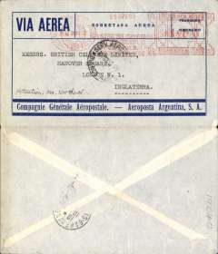 """(Argentina) Compagnie Generale Aeropostale, Buenos Aires to London, Paris/Gare du Nord transit cds, blue/grey CGA company cover franked $1.20 Buenos Aires """"Franqueo Automatico"""" meter mark, 12c postage, $1.08 airmail (airmail rate to Europe 18c per gram), also canc 'Servicio Aerpopostal/Buenos Aires' cds, carried on the South America/-Europe service. Note use of Argentina's first airmail stamps to pay the 18c rate (x6) to Europe via West Africa. CGA to Natal then by fast 'Aviso' from Natal-Dakar, then flown Dakar-Toulouse by Aיropostale. Uncommon postmark."""