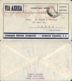 """(Argentina) Compagnie Generale Aeropostale, Buenos Aires to London, no arrival ds, blue/grey CGA company cover franked $1.20 Buenos Aires """"Franqueo Automatico"""" meter mark, 12c postage, $1.08 airmail (airmail rate to Europe 18c per gram), also canc 'Servicio Aerpopostal/Buenos Aires' cds, carried on the South America/-Europe service. Note use of Argentina's first airmail stamps to pay the 18c rate (x6) to Europe via West Africa. CGA to Natal then by fast 'Aviso' from Natal-Dakar, then flown Dakar-Toulouse by Aיropostale. Uncommon postmarks."""