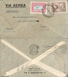 (Argentina) Compagnie Generale Aeropostale, Buenos Aires to Paris, bs 18/10, printed Hausheer & Cia airmail cover cover franked  $1.23 inc 1928 1.08 airmail, canc 'Via Aerea/8 Oct 32', large printed 'Via Aerea' . Carried on the South America/-Europe service. Note use of Argentina's first airmail stamps to pay the 18c rate (x6) to Europe via West Africa. CGA to Natal then by fast 'Aviso' from Natal-Dakar, then flown Dakar-Toulouse by Aיropostale.
