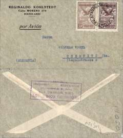 (Argentina) Compagnie Generale Aeropostale, Buenos Aires to Germany, no arrival ds, Kohlstedtl & Cia corner cover franked  $1.05 inc 1928 90c airmail, canc 'Via Aerea/22 Oct 32', printed 'Por Avion' . Carried on the South America/-Europe service. Note use of Argentina's first airmail stamps to pay the 18c rate (x5) to Europe via West Africa. Airmail rate unchanged, but postage rate increased from 12c to 15c. CGA to Natal then by fast 'Aviso' from Natal-Dakar, then flown Dakar-Toulouse by Aיropostale.