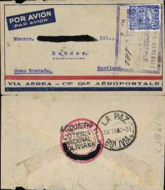 "(Bolivia) French South Atlantic service, Compagnie Generale Aeropostale, La Paz to Scotland, no arrival ds, red/blue/grey CGA company cover franked 25c Bolivian stamp canc violet framed ""Companie Generale/Aeropostale/Correo Aereo/Sobretsa Bs ms 1.40 "" (covering carriage by airmail through Chile and Argentina), carried on Compagnie Generale Aeropostale La Paz Tacna-Arica-Santiago service, then on the CAG South America/-Europe service via Buenos Aires, then airmail to England. The Compagnie Generale Aeropostale airmail charge was B1.40 which was designated by the company hand stamp, rather than postage stamps. The Aeropostale La Paz - Tacna-Arica-Santiago service ended in March 1931. Slight rear top edge damage, see scan, but an interesting item none the less."