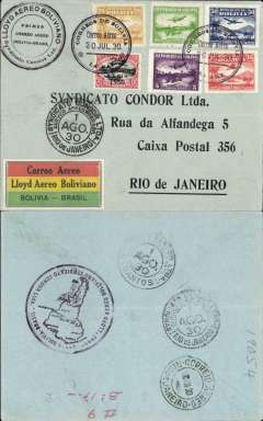 (Bolivia) Lloyd Aereo Boliviano/Syndicato Condor, inauguration of the international airmail service between Bolivia and the rest of the world, F/F La Paz to Rio de Janeiro, 1/8 arrival ds front and verso, black/grey souvenir cover franked 1930 5c,15c,20c,35c,and 50c airs, and 25c/2c opt, canc Correo Aereo/La Paz cds, special black circular flight cachet, special black/red/yellow/green LAB etiquette issued for this flight and rated a great rarity by Mair, large circular LAB/Syndicato Condor 'map' cachet verso illustrating the route viz La Paz, Santa Cruz, Puerto Suarez and Rio de Janeiro. While LAB was developing its routes within Bolivia, Syndicato Condor was doing the same in Brazil. The two routes met up on 30/7/1930, thus completing a service from the West Coast to Europe. A most attractive cover, see scan.