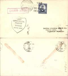 "(Chile) Lt James Doolittle, Curtis Airplane Co, South American Sales Flight , Santiago to Buenos Aires, bs 8/5, black ""Shield"" flight cachet, red boxed ""Correo Aereo"" hs, addressed to Curtis Airplane Co, US Souvenir Historical Flight."