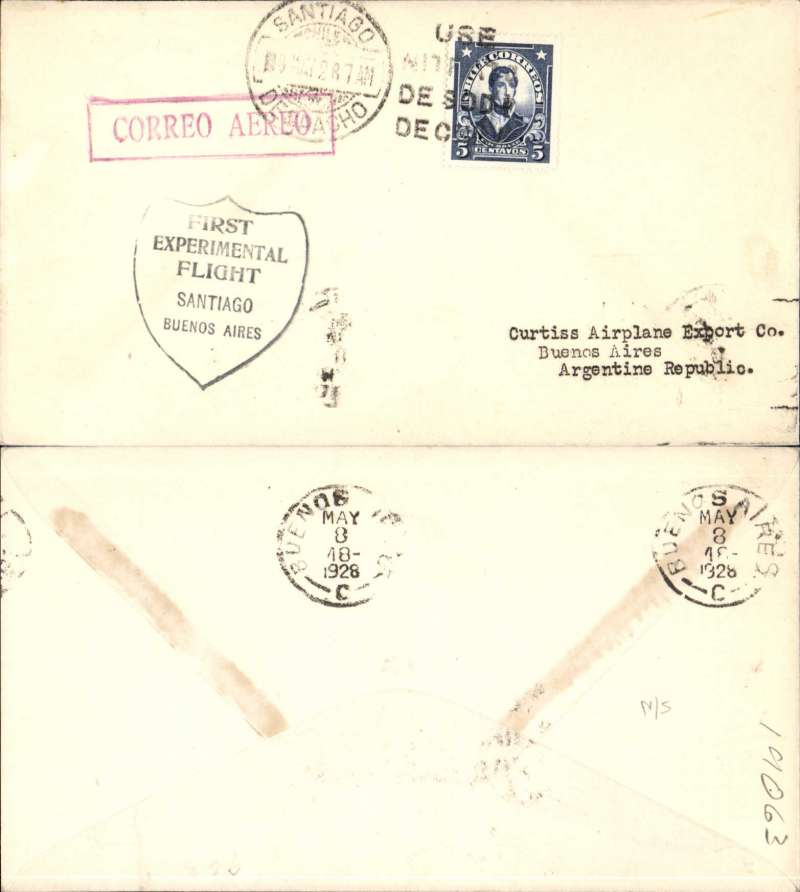 """(Chile) Lt James Doolittle, Curtis Airplane Co, South American Sales Flight , Santiago to Buenos Aires, bs 8/5, black """"Shield"""" flight cachet, red boxed """"Correo Aereo"""" hs, addressed to Curtis Airplane Co, US Souvenir Historical Flight."""