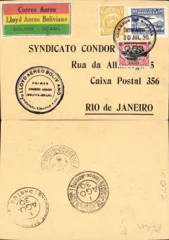 (Bolivia) Lloyd Aereo Boliviano/Syndicato Condor, inauguration of the international airmail service between Bolivia and the rest of the world, F/F La Paz to Rio de Janeiro, bs 1/8, via Santos1/8 arrival ds front and verso, black/cream souvenir card franked 5c ordinary and 50c airmail, canc Correo Aereo/La Paz cds, special black Bolivia-Brazi circular flight cachet, special black/red/yellow/green LAB etiquette issued for this flight and rated a great rarity by Mair. While LAB was developing its routes within Bolivia, Syndicato Condor was doing the same in Brazil. The two routes met up on 30/7/1930, thus completing a service from the West Coast to Europe. Attractive card, see scan.