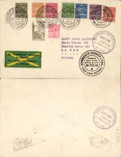 "(Brazil) Lloyd Aereo Boliviano/Syndicato Condor, Rio de Janeiro to La Paz, 2/9 arrival ds's front and verso, first return flight of the new international airmail service linking Bolivia with the rest of the world via Rio de Janeiro, plain cover franked 18000R airmail and 300R ordinary, canc Syndicato Condor/Servicio Aereo/28 Ago 30/Rio de Janeiro"" cds, special black circular Brazil-Bolivia flight cachet, special black/red/yellow/green LAB etiquette issued for this flight and rated a great rarity by Mair. While LAB was dev eloping its routes within Bolivia, Syndicato Condor was doing the same in Brazil. The two routes met up on 30/7/1930, thus completing a service from the West Coast to Europe. An attractive cover, see scan."