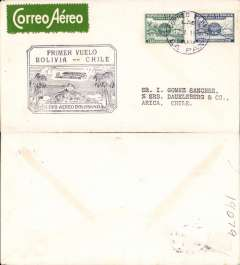 (Bolivia) Lloyd Aereo Bolivano, F/F La Paz-Arica (Chile), franked 1929 15c and 20c airmails for use on LAB airlines, large black official 'Primer Vuelo/Bolivia-Chile' flight cachet, white/green etiquette, no arrival ds.