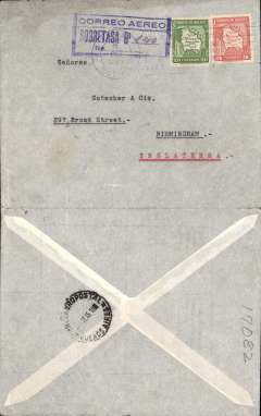 """(Bolivia) Lloyd Aereo Boliviano feeder service La Paz to Arica (Chile), than LAN/Air France to Europe, La Paz to Birmingham, England, no arrival ds, 'Servicio Aeropostal/12 Oct 35/Buenos Aires' transit cds, plain cover franked 25c postage and Bs1.40 airmail postage indicated with blue boxed """"Correo Aereo/Sobretasa Bs (ms) 140"""" mark."""