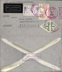 """(Bolivia) Lloyd Aereo Boliviano (La Paz-Corumba)/Syndicato Condor(Corumba-Natal)/Lufthansa(Natal-Frankfurt), La Paz to Germany, no arrival ds, imprint etiquette airmail envelope, franked Bs8.20 (the new rate to Europe for the first 5g), canc by red La Paz cds and purple 'Correo Aereo/La Paz/Servicio Aereo' hs, typed """"Via LAB-Condor-Lufthansa"""". Postage for the LAB/Condor service was significantly more expensive than for the LAB/AF service."""
