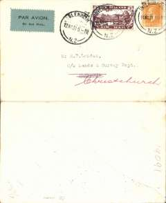 (New Zealand) Air Travel Ltd, special survey flight, Invercargill to Blenheim, 12/11 arrival ds on front, plain cover franked 2d ordinary and 1931 3d airmail stamp, canc 12 Nov, black/grey-green airmail etiquette, 52 flown.