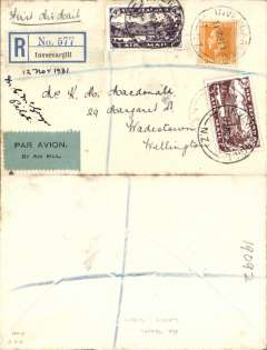 (New Zealand) Air Travel Ltd, special survey flight, Invercargill to Wellington, no arrival ds, registered (label) cover franked 2d ordinary and 1931 3d and 7d airmail stamps, canc 11 Nov, black/grey-green airmail etiquette, signed by the pilot C.M. MC McGregor.