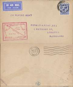 "(GB External) Experimental airmail, Liverpool to Belfast by flying boat, b/s 27/9, plain cover franked 2 1/2d, uncommon red boxed flight cachet with map of route, violet ""By Flying Boat"" hs, dark blue/black airmail etiquette. Francis Field authentication hs verso."