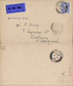 "(GB External) Experimental airmail, last flight Liverpool to Belfast by flying boat, bs 4/10, plain cover franked 2 1/2d, violet ""By Flying Boat"" hs, dark blue/black airmail etiquette."