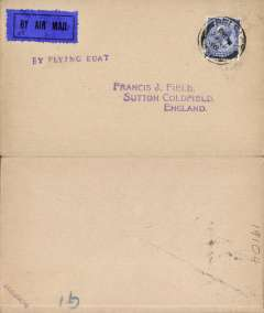 "(Ireland) Experimental airmail, Belfast to Liverpool by flying boat, no arrival ds, plain cover franked 2 1/2d, violet ""By Flying Boat"" hs, dark blue/black airmail etiquette. Francis Field authentication hs verso."