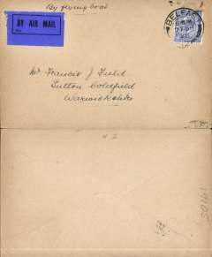"(Ireland) Experimental airmail, Belfast to Liverpool by flying boat, no arrival ds, plain cover franked 2 1/2d, violet ""By Flying Boat"" hs, ms ""By Flying Boat"", dark blue/black airmail etiquette."
