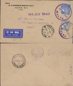 "(Malta) F/F Valetta to Naples, b/s Napoli/Posta Aerea/19/6 cds, plain cover franked 4 1/2d, canc double lined violet circular cds ""Air Mail Malta 19Jun 31"", violet straight line ""1st Air Mail"" hs, white on blue etiquette."
