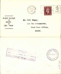 "(GB External) Imperial Airways, F/F Third Stage EAMS, London to Nauru, bs 25/8, plain cover franked 1 1/2d, typed ""First Flight/to/Nauru/at/1 1/2d All Up Rate""."