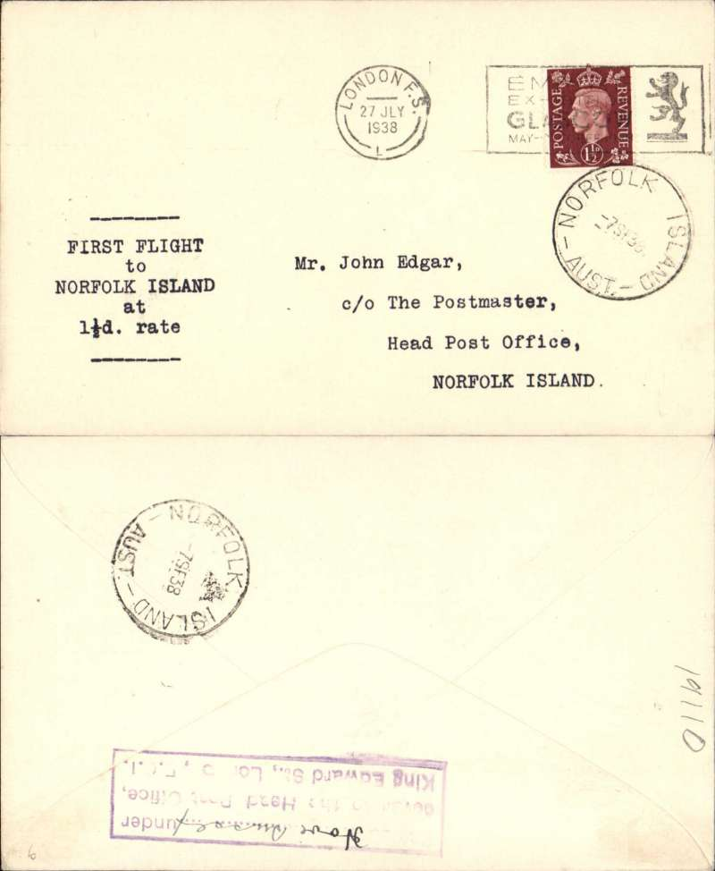 """(GB External) Imperial Airways, F/F Third Stage EAMS, London to Norfolk Island, 7/9 arrival ds front and verso, plain cover franked 1 1/2d, typed """"First Flight/to/Nauru/at/1 1/2d All Up Rate""""."""