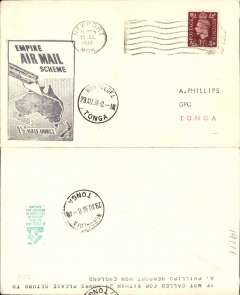 "(GB External) Imperial Airways, F/F Third Stage EAMS England to Tonga, Nukualofa 29/8 arrival ds on front and verso, plain cover franked 1 1/2d, official black map cachet ""Empire Air Mail Scheme/Stage 4/1 1/2d Half Ounce""."