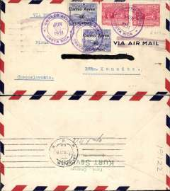 "(Costa Rica) Costa Rica to Czechoslovakia, San Jose to Prague, bs 5/7, early airmail cover franked 80c air & 20c ordinary, canc Correo Aereo/Costa Rica cds, cancelled by  violet double line Jusqu'a applied in New York, typed ""Via New York"". Flown by FAM 5 from San Jose to Miami, by US internal air service to New York, then surface to Europe. Nice routing."