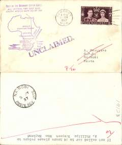 "(GB External) Imperial Airways, F/F First Stage EAMS, London to Nairobi, b3 3/7, plain cover franked 1 1/2d, fine strike violet ""All Letters for East and/ South Africa Now Go By Air"" map cachet. Cover has barely visible closed tear top edge, see scan."