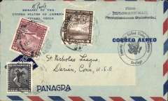 "(Chile) Panagra, diplomatic airmail, Santiago to Connecticut, no arrival ds, printed 'US Embassy/Panagra' airmail cover, franked $14.60, three line ""Free/Diplomatic Mail/Correspondencia Diplomatica"" and black circular 'US Embassy/Santiago' hand stamps. As this was diplomatic mail only the UPAE (Postal Union of the Americas and Spain) fee was applied. No internal airmail fee and no internal postage charge were levied. Interesting."
