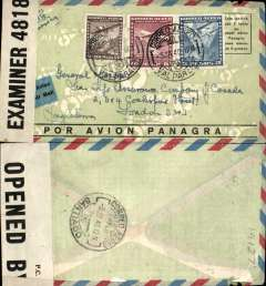 (Chile) Valparaiso to London, via Santiago 3/7, censored Panagra green/grey airmail envelope with red/blue border and  'Por Avion - Panagra' in black along bottom edge, sealed B&W OBE #4818 (Bermuda) censor tape.
