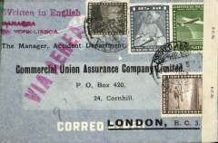 "(Chile) Panagra Hand Stamp, Panagra/North Atlantic Air Service, Valparaiso to England, no arrival ds, double censored airmail cover franked 13.80P, red two line ""Panagra/Via New York-Lisboa"", ""Written in English"" , and ""Via Aerea"" hand stamps, sealed US #73** (?New York), and British Caribbean OBE #1654 censor tapes."