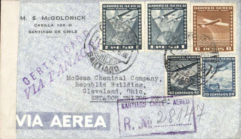 """(Chile) WWII, Panagra Hand Stamp, Santiago to Ohio, b/s, via Miami 17/4 and Clevelan 18/4, censored registered (label) airmail cover franked 8.60P, violet  """"Via Panagra"""" hs, sealed US EB #2222 (Miami) censor tape."""