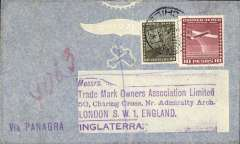 """(Chile) Panagra Hand Stamp, Panagra/FAM 18, Santiago to London, no arrival ds, airmail cover franked 10.80P, violet """"Via Panagra"""" hs."""