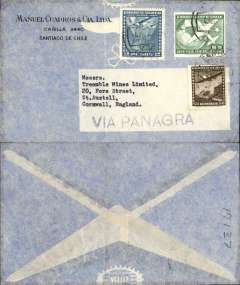 "(Chile) Panagra Hand Stamp, Santiago to England, no arrival ds, airmail cover franked 7.50P, black ""Via Panagra"" hs."