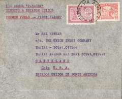 """(Argentina) Pan American Grace Airways, F/F Buenos Aires to USA, private 11/10 Union Trust Co, Ohio arrival ds verso, franked 5c postage, 35 airmail, canc 'Via Aerea/Buenos Aires', typed """"Via Aerea Panagra/Directo a Estados Unidos"""", ms ' Panagra'."""
