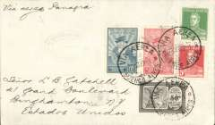 """(Argentina) Pan American Grace Airways, F/F Buenos Aires to USA, private Deyo Oil Co23/10 (?return) arrival ds verso, franked 5c postage, 68 airmail, canc 'Via Aerea/Buenos Aires', uncommon blue double ringed oval """"Courrier Aerien/Etats Unis"""" flight cachet, ms """"Via Aerea Panagra""""."""