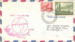 (Argentina) Panagra DC8 F/F Buenos Aires to Miami, red cachet, b/s, airmail cover. Cachet shows map with stop at Miami where Panagra ceased to be a carrier and Pan Am complted flight to New York.