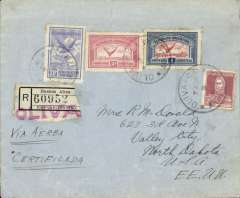 """(Argentina) PANAGRA, unusual West coast airmail, Buenos Aires (Oliva)  to North Dakota, bs 7/4, via Cristobal 10/4 and Atlanta 12/4, registered (label) cover franked 5c postage, 5c regn, $1.70 airmail, large red """"Oliva"""" hs, ms 'Via Aerea/Certificada', great routing.. It is unusual to find mail sent by the West coast route from Buenos Aires from the late 1931 onwards."""