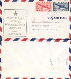 (Liberia) Liberian International Airways, F/F Monrovia to New York, airmail cover franked 25cand 50c airs, no arrival ds, large black boxed flight cachet.
