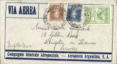 (Argentina) Compagnie Generale Aeropostale, Buenos Aires to London, no arrival ds, blue/grey CGA company cover franked 12c postage, 72c airmail (airmail rate to Europe 18c per gram), canc 'Servicio Aeropostale/Buenos Aires' cds, carried on the South America/-Europe service. Note use of Argentina's first airmail stamps to pay the 18c rate (x4) to Europe via West Africa. CGA to Natal then by fast 'Aviso' from Natal-Dakar, then flown Dakar-Toulouse by Aיropostale.