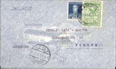 """(Argentina) Compagnie Generale Aeropostale, Buenos Aires to Vienna, bs 5/4, uncommon pale blue/white """"Republica Argentina"""" airmail envelope with engraving of biplane franked 12c postage, 72c airmail (airmail rate to Europe 18c per gram), canc 'Servicio Aeropostal/Buenos Aires' cds, carried on the South America/-Europe service. Note use of Argentina's first airmail stamps to pay the 18c rate (x4) to Europe via West Africa. CGA to Natal then by fast 'Aviso' from Natal-Dakar, then flown Dakar-Toulouse by Aיropostale."""